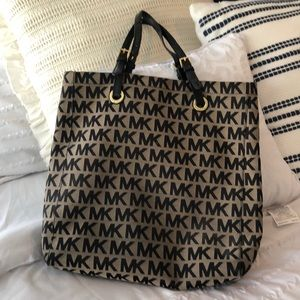 Michael Kors tote bag, tan and black